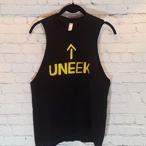 American Apparel black and yellow muscle tank sz L
